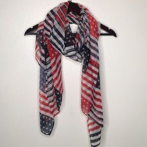 Sheer American Flag Scarf